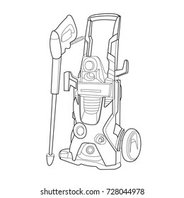 Machine for washing cars, ?lectronic technology, Karcher, vector illustration