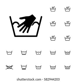 machine washing laundry symbols icons set