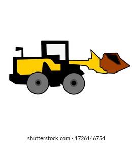 Machine Yellow Bulldozer Vector Icons