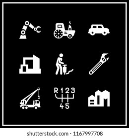 machinery icon. 9 machinery vector set. automobile, excavator machine arm, gearbox and factory icons for web and design about machinery theme