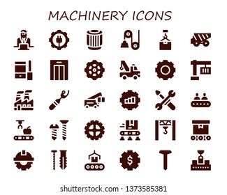 machinery icon set. 30 filled machinery icons.  Collection Of - Worker, Gear, Pulley, Crane, Dump truck, Configuration, Lift, Industry, Ripper, Tools, Conveyor, Mechanical arm