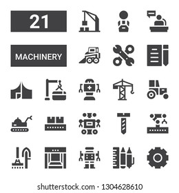 machinery icon set. Collection of 21 filled machinery icons included Cogwheel, Design tool, Robot, Conveyor, Tools, Robotic arm, Screw, Tractor, Crane, Maintenance, Tool, Draft