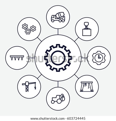 Machinery Icons Set Set 9 Machinery Stock Vector Royalty Free