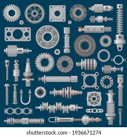 Machinery parts icons, machine engine mechanisms and gears, vector industry equipment. Factory mechanic parts and tools, lever and cog wheel, mechanical tools, construction metal shafts and gaskets