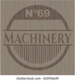 Machinery wood emblem. Retro