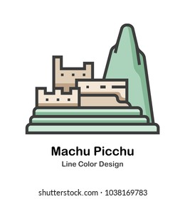 Machu Picchu line color icon
