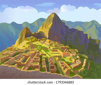 Machu Picchu in Peru. Historical landmark. City of the world countries vacation travel landmarks. South America. Vector illustration