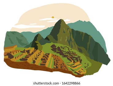 Machu Picchu, Peru. New Seven Wonders of the World. Vector illustration. Travel landmarks. Landscape.