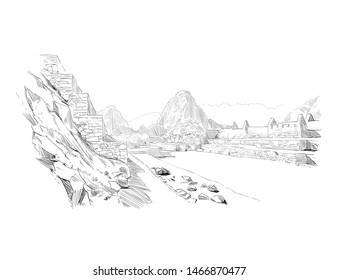 Machu Picchu. Peru. Urban sketch. Hand drawn vector illustration
