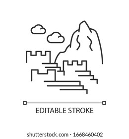 Machu picchu pixel perfect linear icon. Inca citadel in Eastern Cordillera. Thin line customizable illustration. Contour symbol. Vector isolated outline drawing. Editable stroke