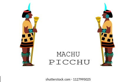 Machu Picchu(Peru)-New Seven Wonders of the World. Vector illustration.EPS 8.
