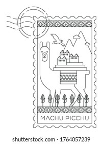 Machu Pichu symbols stamp, minimal linear vector illustration and typography design, Peru