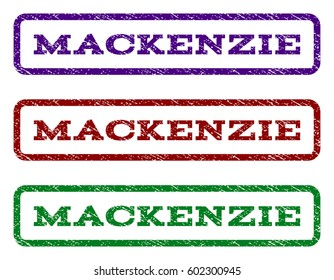 Mackenzie watermark stamp. Text tag inside rounded rectangle frame with grunge design style. Vector variants are indigo blue, red, green ink colors. Rubber seal stamp with scratched texture.
