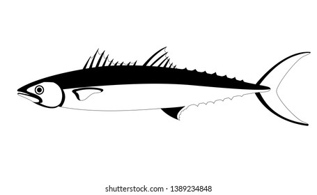 mackerel fish. vector illustration, lining draw. profile side.