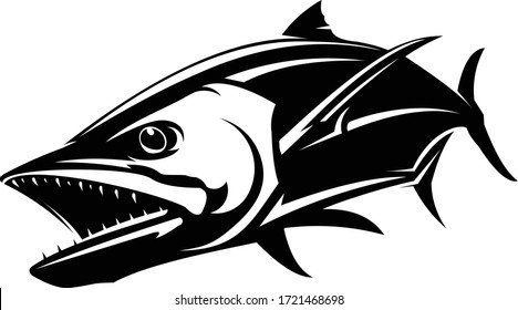 Mackerel Logo Illustration.  A Great and Bold Mackerel fish Vector.