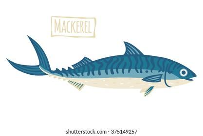 Mackerel, vector cartoon illustration