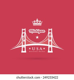 The Mackinac Bridge connecting the Upper and Lower peninsula of the U.S. state of Michigan - vector illustration