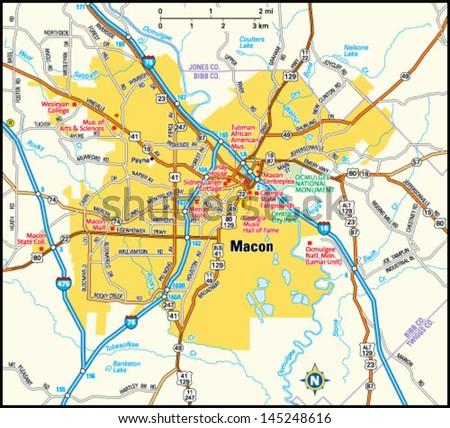Macon Georgia Area Map Stock Vector Royalty Free 145248616