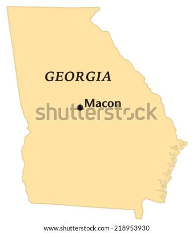 Macon Georgia Locate Map Stock Vector Royalty Free 218953930