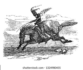 Macon was violent and Impious man who was accompanied by a stranger sitting on horse back having supernatural powers, vintage engraved line art illustration. Infernal Dictionary 1863.