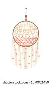 Macrame dreamcatcher design vector illustration. Wall hanging decoration with thread fringe. Indian traditional amulet, protection from bad dreams. Boho, ethnic handmade knot craft decor.