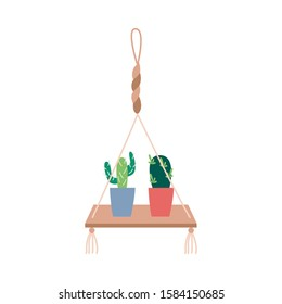 Macrame plant hangers with cactus hobby concept flat vector illustration isolated on white background. Handmade knitted interior element for house decoration.