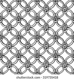 Macrame seamless pattern made of ropes. Vector endless textile background isolated on white. Coloring book pages for adults.