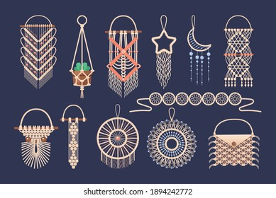 Macrame wall hanging design, braided decorative ornaments. Boho, ethnic handmade knitted pattern. Knitted jewelry and home accessories isolated on dark background vector