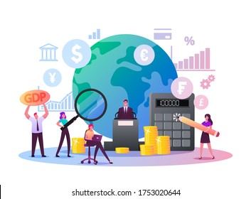 Macroeconomics, Gross Domestic Product. Tiny Characters Finance Gdp Money Budget and Positive Whole Stock Capital Income Rate. Global Money Study and Basic Economy. Cartoon People Vector Illustration