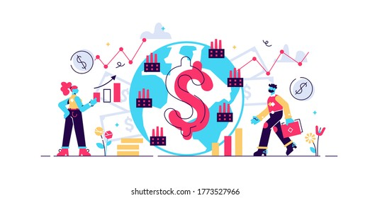 Macroeconomics vector illustration. Flat tiny finance chart persons concept. Global GDP money budget graph. Positive whole stock capital income rate. Global money study and basic economy knowledge.