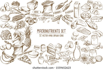 Macronutrients collection of 52 individual hand drawn vector illustrations including carbohydrates, proteins and fats