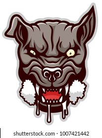 Mad angry dog head. Vector illustration.