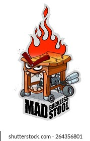 Mad backless stool with engine on wheels