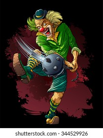 Mad clown killer with cudgel.  Mad clown killer in hat a blow with a cudgel (mace).