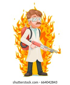 Mad doctor scientist flamethrower cleansing purification by fire destruction science cartoon character vector illustration