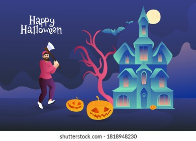 A mad forester runs with an ax for pumpkins against the backdrop of a scary castle with bats. Happy halloween postcard invitation. Man with pumpkins under the full moon.
