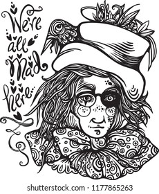 mad hatter alice in wonderland vector coloring book page vector illustration