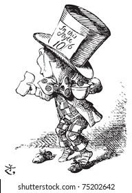 The Mad Hatter arrives hastily in court to testify - Alice in Wonderland engraving. The first witness was the Hatter. He came in with a teacup in one hand and a piece of bread-and-butter in the other