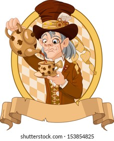 Mad Hatter with crazy eyes pours tea