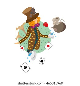 Mad Hatter holds a cup in a colorful costume. Mouse sitting in a pot and pours tea into a cup