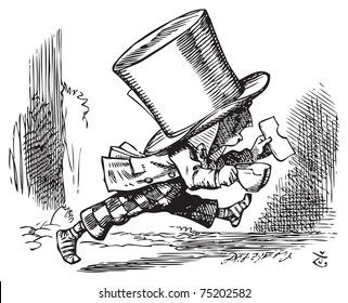 Mad Hatter just as hastily leaves - Alice's adventures in Wonderland original vintage engraving. The Mad Hatter runs out of court in his socks, carrying sandwich and (bitten) teacup.