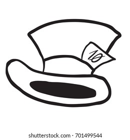 mad hatter's hat black and white cartoon illustration isolated on white
