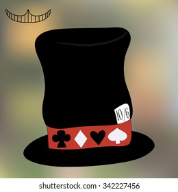 Mad Hatter's Hat from Wonderland. Tea Party, Birthday, Children Party, Bridal Shower. Vector Illustration on Blur Background for Graphic Projects, Parties and the Internet.
