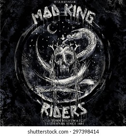 mad king riders rock and roll metal style motorcycle biker fashion trend t shirt illustration art
