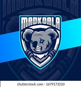 mad koala mascot esport logo design