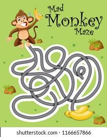 Mad monkey finding banana illustration