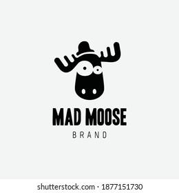 mad moose logo design template vector idea creative modern flat simple for fashion brand, street fashion