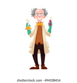 Mad professor in lab coat and green rubber gloves holding flasks, cartoon vector illustration isolated on white background. Crazy laughing white-haired scientist, stereotype of scientist