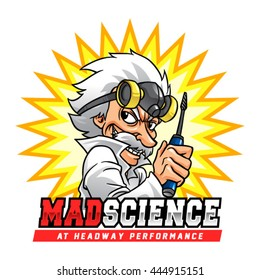 Mad Science Professor. Mad scientist with gas mask and screwdriver.