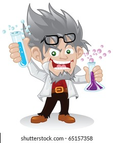 Mad scientist cartoon character holding some flasks of chemical fluids.